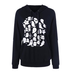 Black Hooded Print Sweatshirt-RM103.06