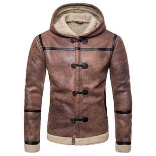 PU Leather Hooded Warm Shearling Coat -US$65.88
