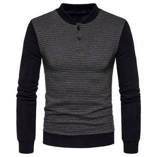 Cotton Stylish Collar Buttons Sweatshirt -US$25.52