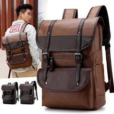Men Large Capacity Vintage PU Leather Backpack -US$29.54