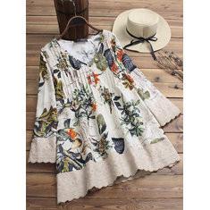 Casual Print Patchwork Blouse -RM102.93