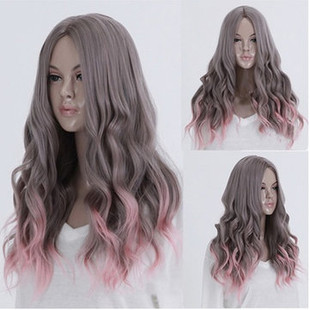 Lolita Harajuku Gray Pink Full Wig Long Curly -US$25.92