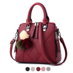 Women Faux Leather Plaid Fur Ball Handbag Tote Bag-RM111.23