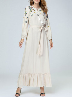Flower Embroidered Long Sleeve Belted Maxi -US$51.85