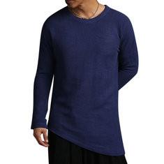 Men's Long-Sleeved Beveled Hem T-shirt-US$19.99
