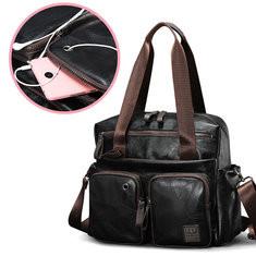 Men PU Leather Business Briefcase Solid Handbag