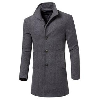 RM115.27-Mens Business Woolen Slim Fit Trench Coat