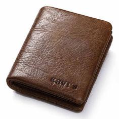 Men Genuine Leather Solid Short Wallet Money Clip-US$22.59