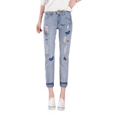 Butterfly Embroidered Hole Harem Jeans-RM104.22