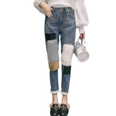 Plush Patchwork Casual Jeans-RM171.80