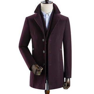 RM521.11-Woolen Detachable Liner Lapel Trench Coat