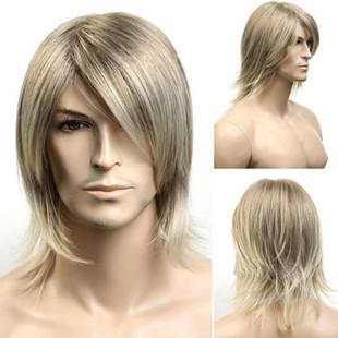Men's Oblique Bangs Synthetic Wigs -US$28.99