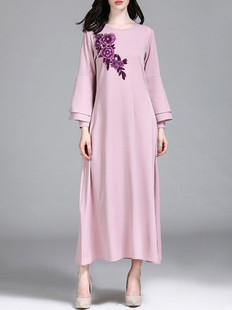 Embroidered Bell Sleeve O-neck Print Dress -US$39.30