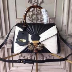 Gucci Queen Margaret Quilted Leather Top Handle Bag Black and White RM1,488.00