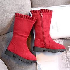 Girls Keep Warm Zipper Mid-calf Boots