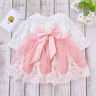 Bow-Knot Patch Girls Lace Dress For 1-7Y -US$23.99