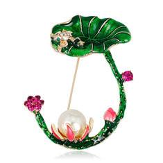 Elegant Lotus Pearl Brooch-US$9.89