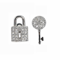 JASSY® 925 Silver Lock Key Stud Earrings-US$22.76