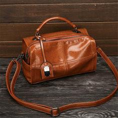 Women Oil Wax Leather Plaid Long Handbag Shoulder Bag-RM122.32