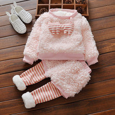 Pink Thick Fleece Girls Set For 0-24M