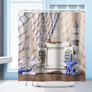 150x180cm Fish Net Lighthous Printed Shower-US$21.56