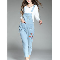 Embroidery Floral Denim Casual Jumpsuit-RM 209.20