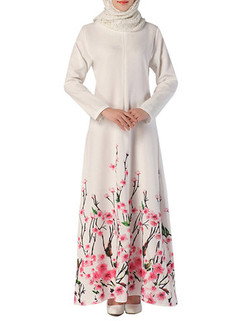 Printed Chiffon Long Sleeve Muslim Maxi Dress -US$37.62