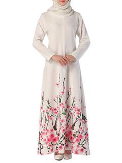 Printed Chiffon Long Sleeve Muslim Maxi Dress -US$37.62
