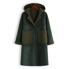 Mid Long Hooded Inside Fleece Coat-RM 170.31