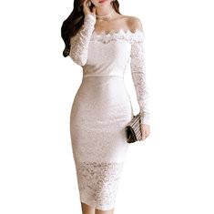 Slim Lace Off-shoulder Bodycon Dresses-RM111.72
