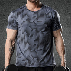 Mens Breathable Elastic Short Sleeve T-shirt
