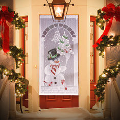 "40""x84"" Christmas White Snowman Lace Window Curtain-RM54.21"