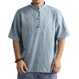 Charmkpr Men Summer Vintage Chinese Style Stand Collar Solid Color Loose Casual Buttons T Shirts-US$19.99