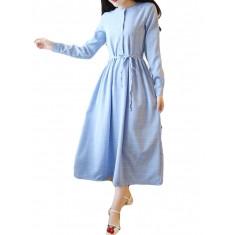 Linen Plaid Long Sleeve Casual Dress-RM124.61