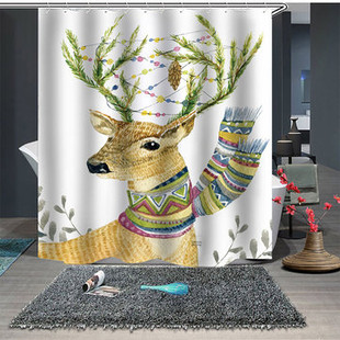 Simple Nordic Elk Theme Shower Curtain -US#21.90