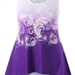 Sleeveless Print Lace Dresses -US$18.20