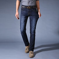 Mens Fashion Urban Style Classic Slim Stretch Pleated Pattern Jeans - RM88.73