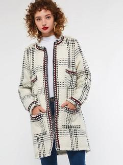 Women's Coat O Neck Zipper Pocket Outerwear -RM213.99