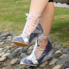 Polka Dots Thicken High-heeled Waterproof Rain Shoes Covers Slip Resistant Rain Shoes-US$8.75