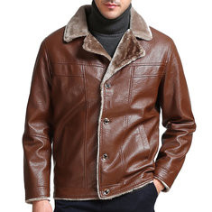 PU Leather Fleece Lining Warm Jacket-US$34.89