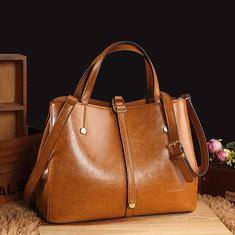 Women Faux Leather Solid Handbag Vintage Crossbody Bag-RM128.26