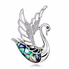 Sweet Swan Silver Brooch-US$11.47