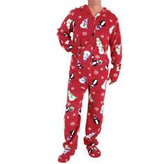 Christmas Thermal Fleece Printed Hooded Pajamas-US$23.99