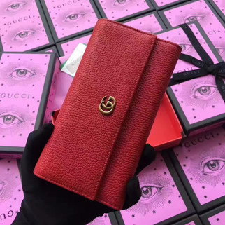 Gucci GG Marmont Red Leather Continental Womens Long Wallet 456116 RM650.00