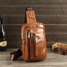 Men Genuine Leather Crossbody Bag Multi-pocket Chest Bag-US$39.35