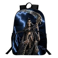 Flame Skeleton 3D Shoulder Bag Backpack Children Polyester School Bag -US$26.24-US$26.24