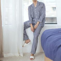 Plaid Breathable Cotton Pajama Set-US$37.72
