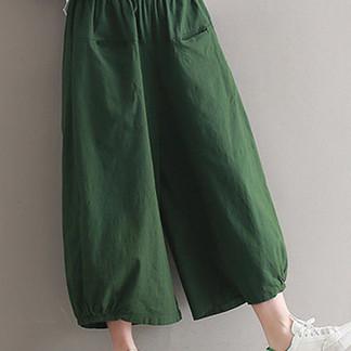 Women Elastic Waist Pure Color Wide Leg Pants -US$35.19