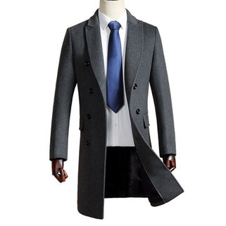 RM345.05-Long Woolen Thickened Warm Trench Coat