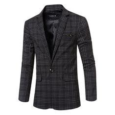 Casual Plaids British Style Slim Blazers For Men-US$39.33